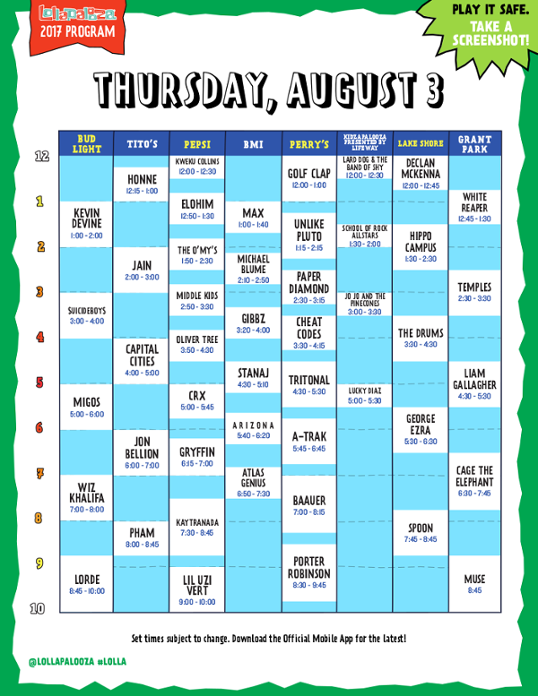 Lollapalooza - Day 1 Schedule