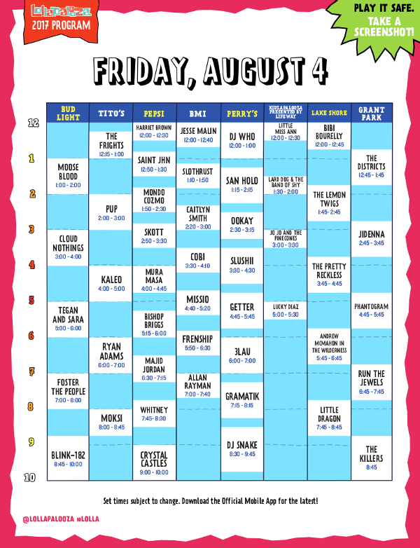 Lollapalooza - Day 2 Schedule