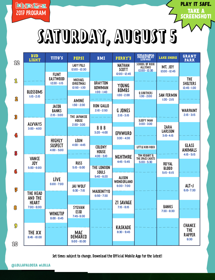 Lollapalooza - Day 3 Schedule