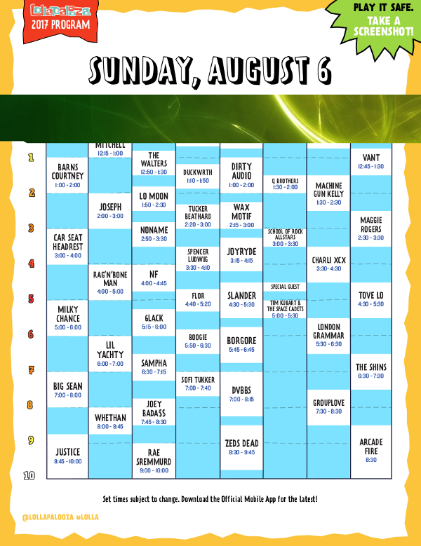 Lollapalooza - Day 4 Schedule